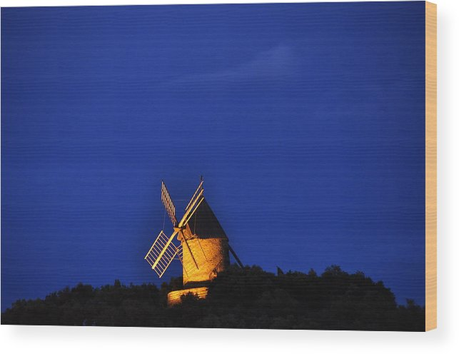 France Windmills Europe Wood Print featuring the photograph Windmill Collioure by K C Lynch