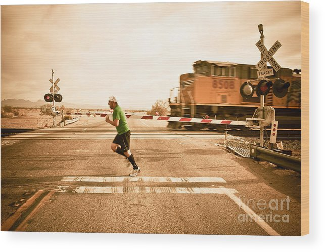 Train Wood Print featuring the photograph Winning.... For Now by Scott Sawyer