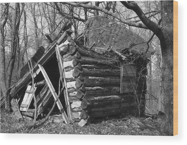 Wood Wood Print featuring the photograph Winslowcabinhorizontal by Curtis J Neeley Jr