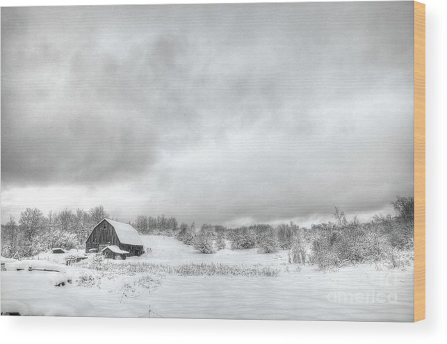 Wood Print featuring the photograph Winter Barn by David Paul