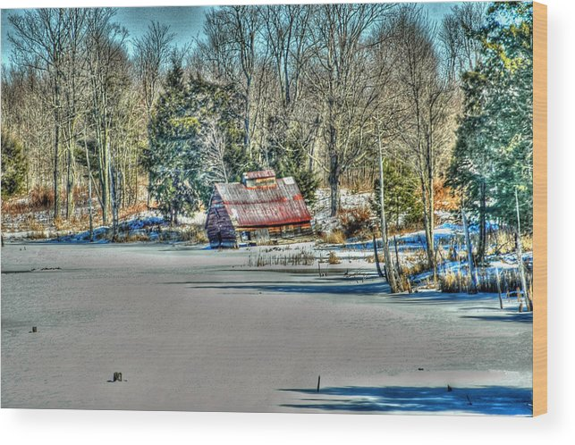 Rcouper Wood Print featuring the photograph Winter Boathouse by Rick Couper