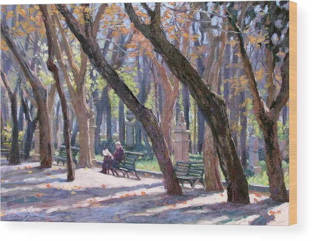 Rome Wood Print featuring the painting Winter In Rome by L Diane Johnson