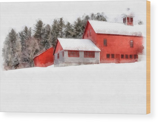 New England Wood Print featuring the photograph Winter On The Farm Enfield by Edward Fielding