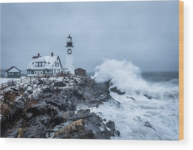 Lighthouse Wood Print featuring the photograph Winter Storm, Portland Headlight by Gary Shepard