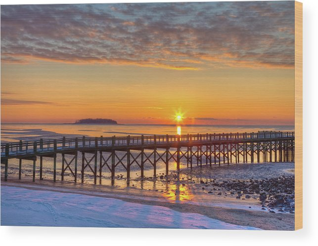 Landscape Photo Wood Print featuring the photograph Winter Sunrise At The Beach by John Supan