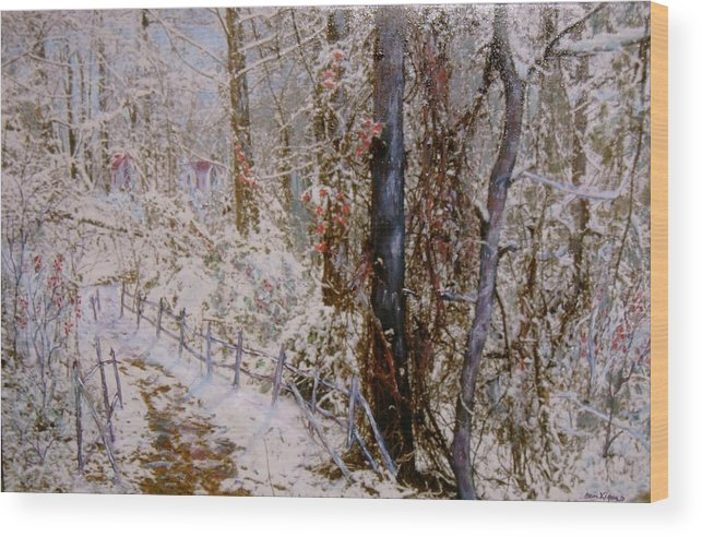 Snow; Trees Wood Print featuring the painting Winter Wonderland by Ben Kiger