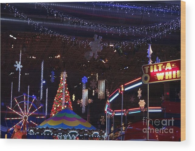 Carnival Wood Print featuring the photograph Winterfest Carnival 2013 by Teresa Hayes