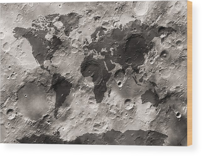 World Map Wood Print featuring the digital art World Map On The Moon's Surface by Michael Tompsett