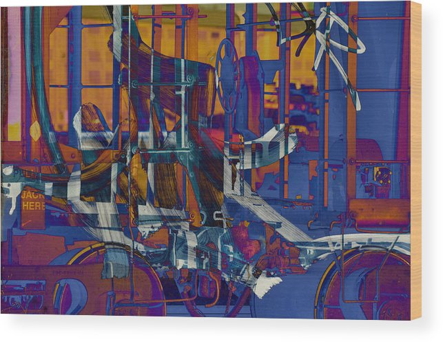 Abstract Wood Print featuring the photograph Writing On The Rails 1 by John Ricker