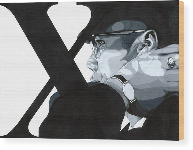 Grey Scale Wood Print featuring the drawing X by Lamark Crosby