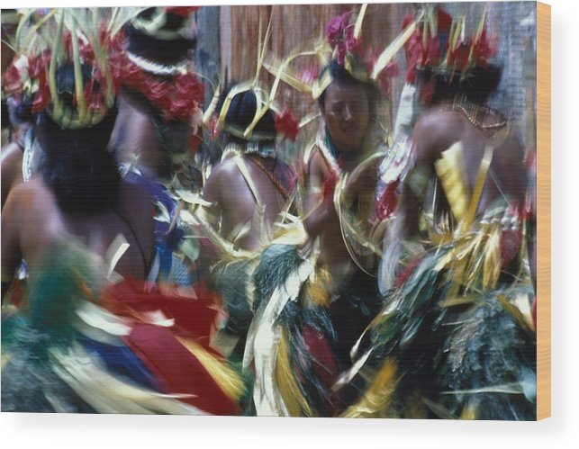 Swirling Wood Print featuring the photograph Yap Dancers In Micronesia by Carl Purcell