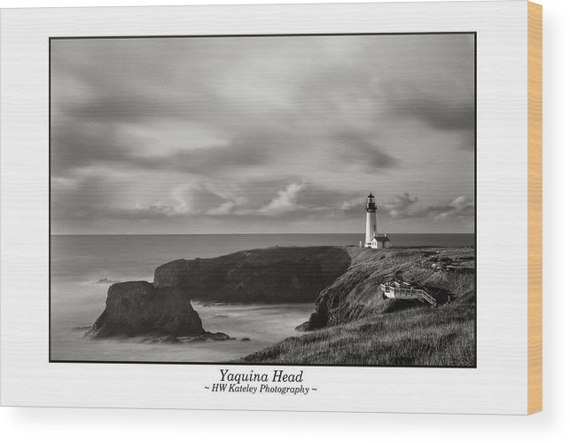 Yaquina Wood Print featuring the photograph Yaquina Head Lighthouse - With Border by HW Kateley