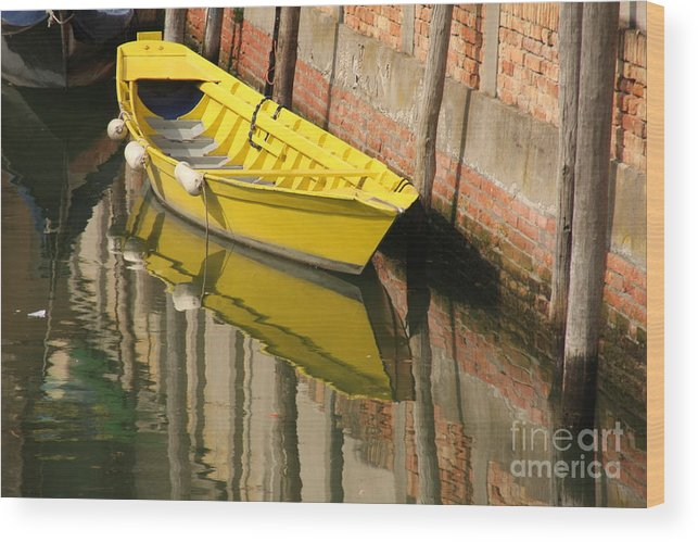 Venice Wood Print featuring the photograph Yellow Boat In Venice by Michael Henderson