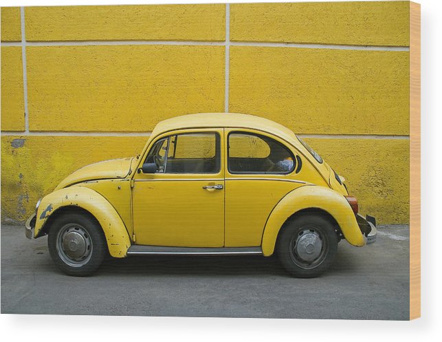 Yellow Wood Print featuring the photograph Yellow Bug by Skip Hunt