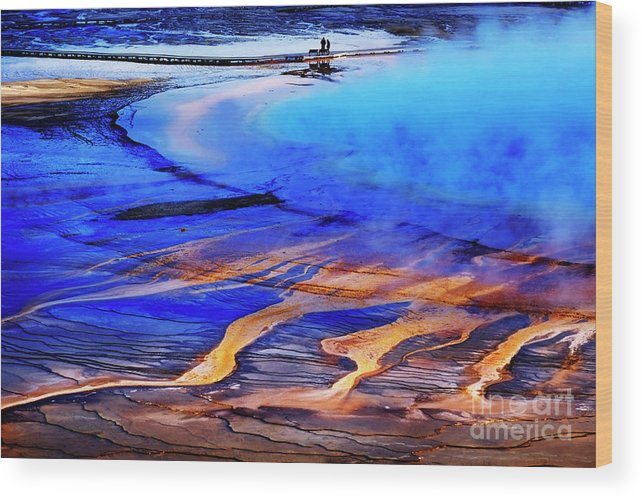 Adventure Wood Print featuring the photograph Yellowstone Grand Prismatic Spring Geothermal Water by Lane Erickson