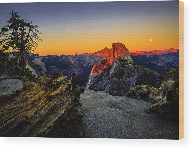 California Wood Print featuring the photograph Yosemite National Park Glacier Point Half Dome Sunset by Scott McGuire