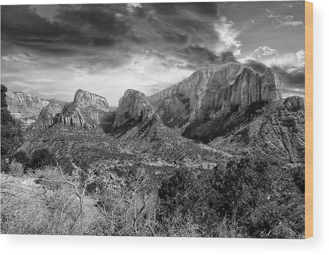 Zion National Park Wood Print featuring the photograph Zion In Black And White by Rick Yenofsky