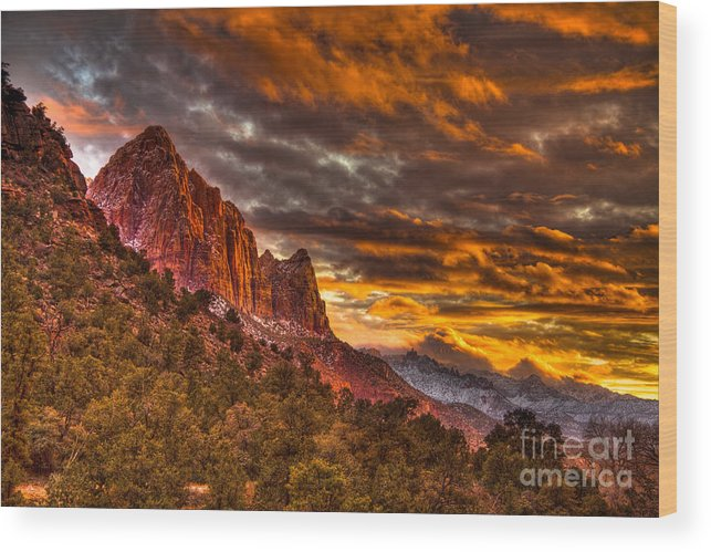 Hdr Wood Print featuring the photograph Zion's Fire Iv by Irene Abdou