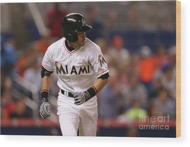 Second Inning Wood Print featuring the photograph Baltimore Orioles V Miami Marlins 1 by Rob Foldy