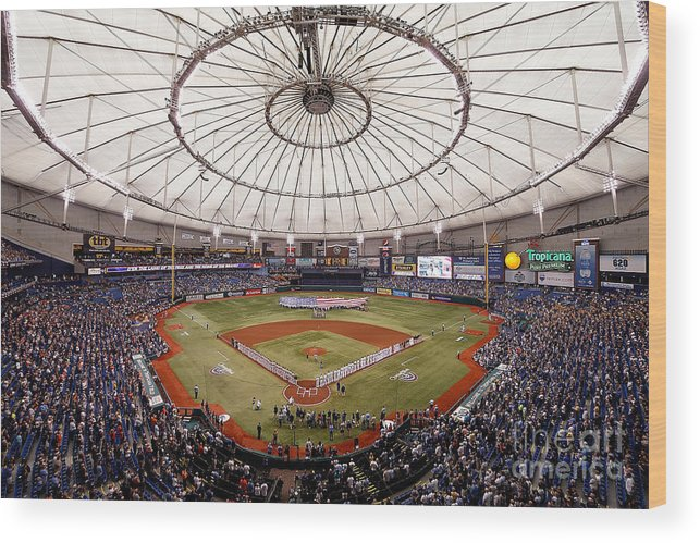 American League Baseball Wood Print featuring the photograph Baltimore Orioles V Tampa Bay Rays by J. Meric