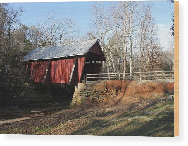 Upstate Sc Wood Print featuring the photograph Campbell's Covered Bridge by Anthony Stone
