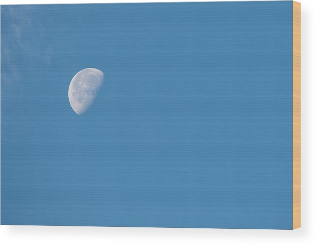 Astronomy Wood Print featuring the photograph Moon With Clouds And Blue Sky by Cindy Miller Hopkins
