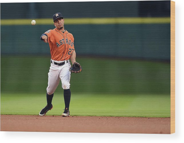 People Wood Print featuring the photograph Seattle Mariners V Houston Astros by Stacy Revere