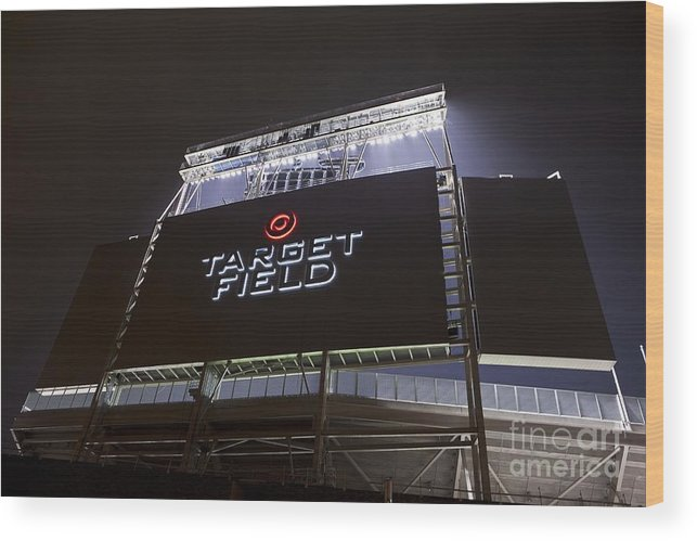 American League Baseball Wood Print featuring the photograph Target Field Previews by Wayne Kryduba