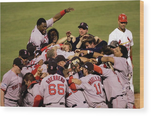 Celebration Wood Print featuring the photograph World Series Red Sox V Cardinals Game 4 by Stephen Dunn