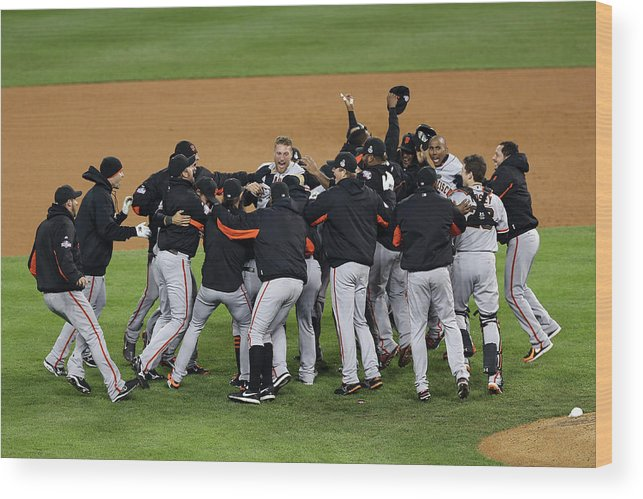 American League Baseball Wood Print featuring the photograph World Series - San Francisco Giants V by Christian Petersen