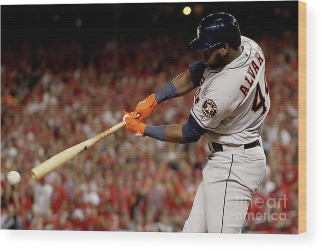 American League Baseball Wood Print featuring the photograph World Series - Houston Astros V by Patrick Smith