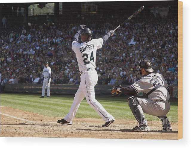American League Baseball Wood Print featuring the photograph New York Yankees V Seattle Mariners by Otto Greule Jr