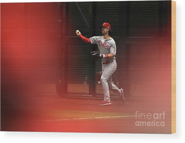 People Wood Print featuring the photograph Philadelphia Phillies V Arizona 14 by Christian Petersen