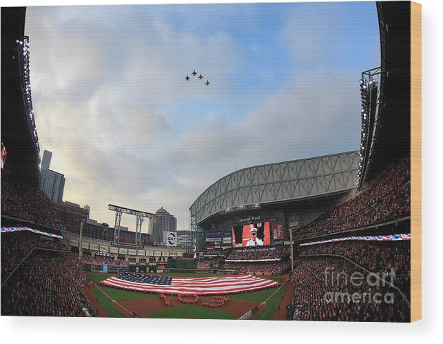 American League Baseball Wood Print featuring the photograph Oakland Athletics V Houston Astros by Bob Levey