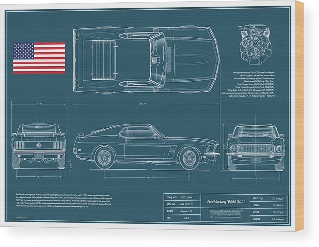 Mustang 2+2 Wood Print featuring the drawing 1969 Boss 302 Blueplanprint by Douglas Switzer