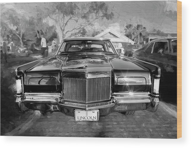 1971 Lincoln Wood Print featuring the photograph 1971 Lincoln Continental Mark IIi Bw 102 by Rich Franco