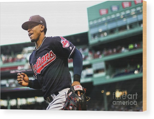 Three Quarter Length Wood Print featuring the photograph Cleveland Indians V Boston Red Sox 2 by Adam Glanzman