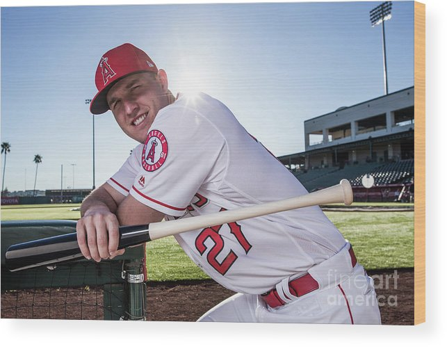 Media Day Wood Print featuring the photograph Los Angeles Angels Of Anaheim Photo Day 2 by Rob Tringali