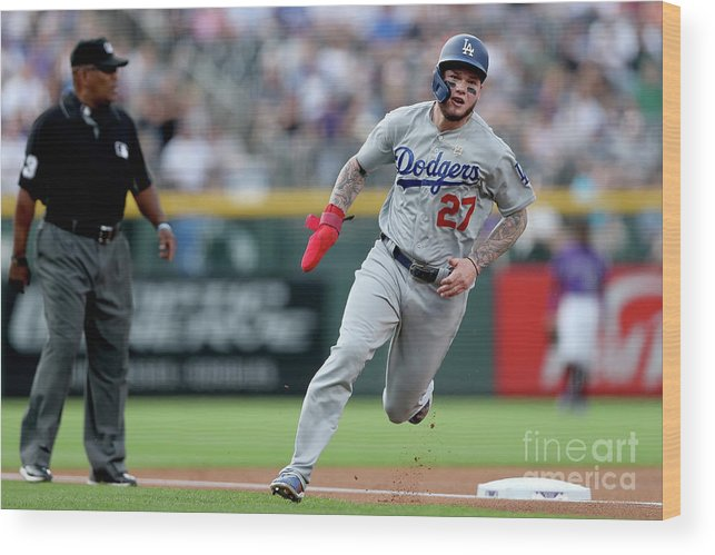 People Wood Print featuring the photograph Los Angeles Dodgers V Colorado Rockies 2 by Matthew Stockman
