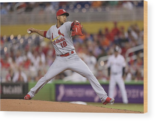 St. Louis Cardinals Wood Print featuring the photograph St Louis Cardinals V Miami Marlins by Rob Foldy