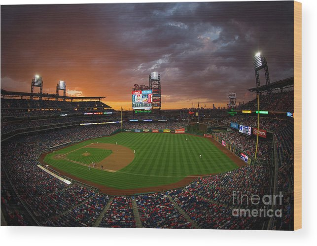American League Baseball Wood Print featuring the photograph Washington Nationals V Philadelphia by Mitchell Leff