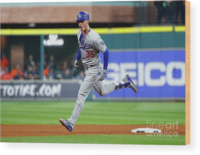 People Wood Print featuring the photograph World Series - Los Angeles Dodgers V 2 by Jamie Squire