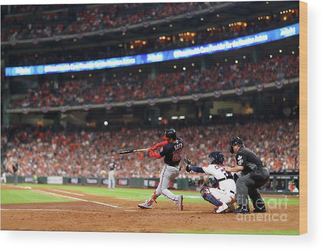 American League Baseball Wood Print featuring the photograph World Series - Washington Nationals V 2 by Mike Ehrmann