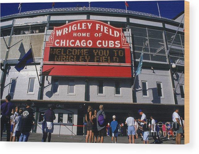 National League Baseball Wood Print featuring the photograph Wrigley Field by Jonathan Daniel