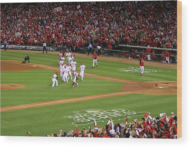 St. Louis Cardinals Wood Print featuring the photograph 2011 World Series Game 7 - Texas by Dilip Vishwanat