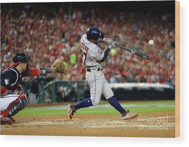 American League Baseball Wood Print featuring the photograph 2019 World Series Game 5 - Houston by Alex Trautwig