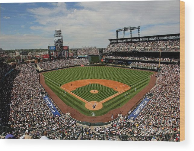 National League Baseball Wood Print featuring the photograph San Francisco Giants V Colorado Rockies by Doug Pensinger