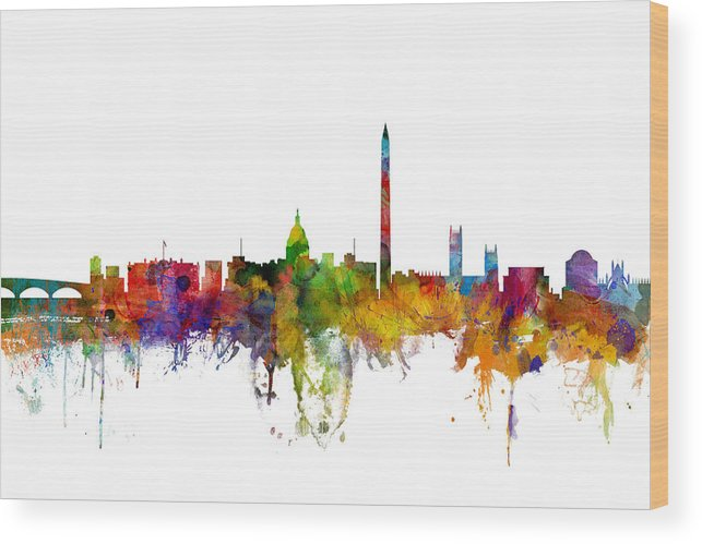 United States Wood Print featuring the digital art Washington Dc Skyline by Michael Tompsett