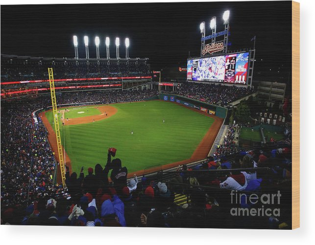Game Two Wood Print featuring the photograph World Series - Chicago Cubs V Cleveland by Jamie Squire