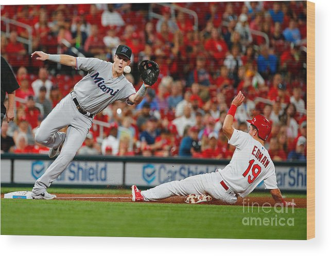 St. Louis Cardinals Wood Print featuring the photograph Miami Marlins V St Louis Cardinals 4 by Dilip Vishwanat
